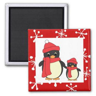 Taking Little Penguin for a Walk 2 Inch Square Magnet
