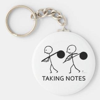 Taking Notes Basic Round Button Keychain