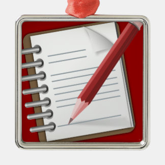 Taking Notes Square Metal Christmas Ornament