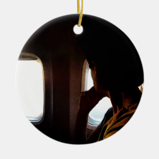 Taking Off Double-Sided Ceramic Round Christmas Ornament