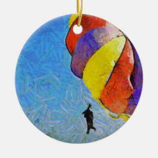 Taking off on a flight ceramic ornament