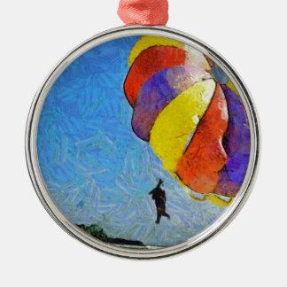 Taking off on a flight metal ornament