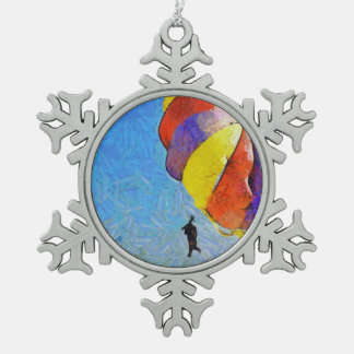Taking off on a flight snowflake pewter christmas ornament