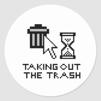 Taking out the trash classic round sticker