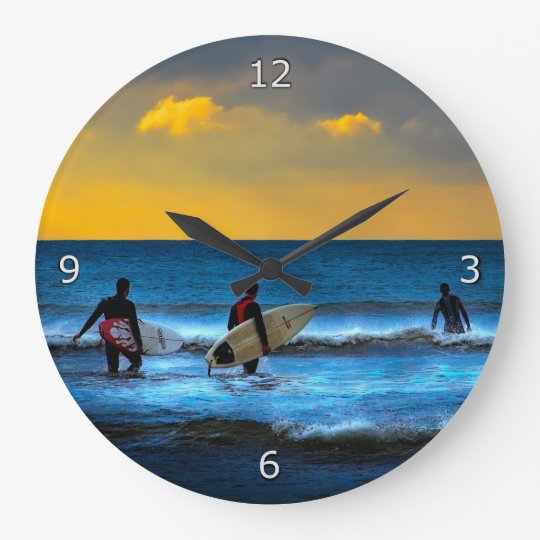 Taking the Last Surf Of The Day Large Clock