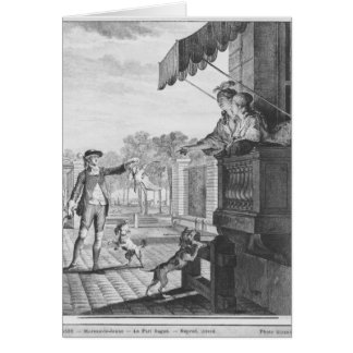 Taking up a bet, engraved by Camligue  c.1777 Card