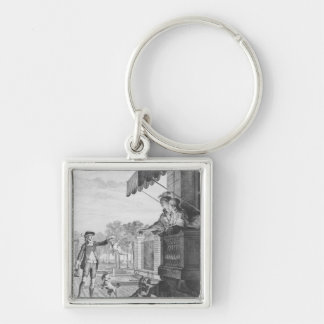 Taking up a bet, engraved by Camligue  c.1777 Keychain