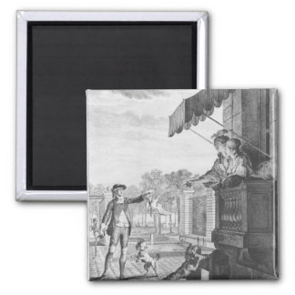 Taking up a bet, engraved by Camligue  c.1777 Magnet