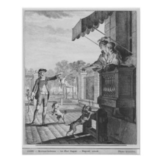 Taking up a bet, engraved by Camligue  c.1777 Poster