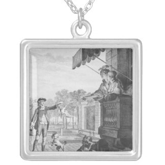 Taking up a bet, engraved by Camligue  c.1777 Silver Plated Necklace