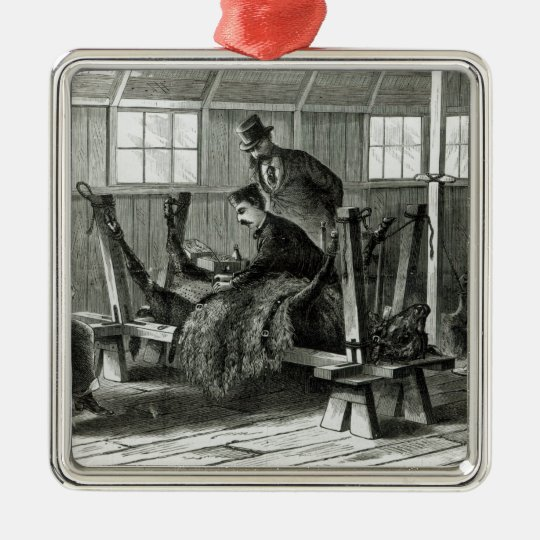 Taking virus from the calf metal ornament