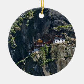 Taktsang Monastery on the cliff, Paro, Bhutan Double-Sided Ceramic Round Christmas Ornament