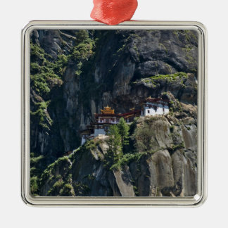 Taktsang Monastery on the cliff, Paro, Bhutan Square Metal Christmas Ornament