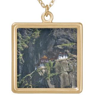 Taktsang Monastery on the cliff, Paro, Bhutan Square Pendant Necklace