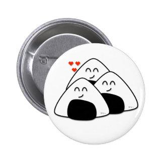 Takusan Oishii Onigiri Button (White)