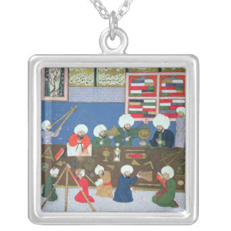 Takyuddin and other astronomers square pendant necklace