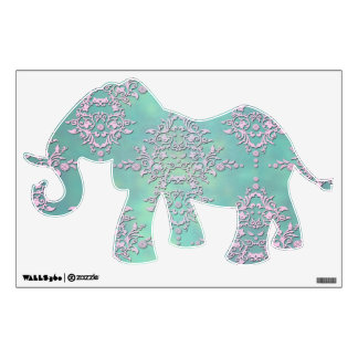 Tal Green and Lavender Damask Fancy Elephant Wall Decal