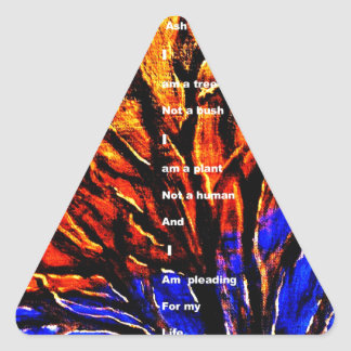 Tala de árboles pegatina triangular
