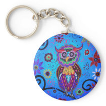 Talavera Owl Mexican Painting Keychain