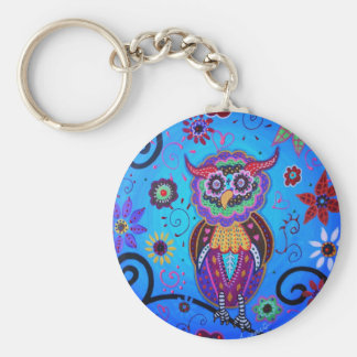 Talavera Owl Mexican Painting Keychains