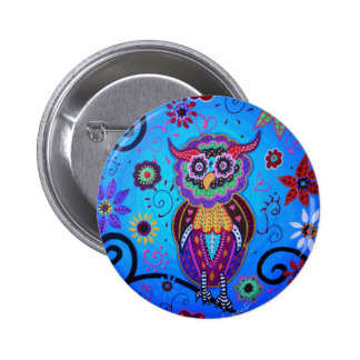 Talavera Owl Mexican Painting Pinback Button