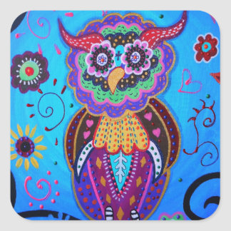 Talavera Owl Mexican Painting Square Sticker