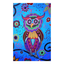 Talavera Owl Mexican Painting Stationery