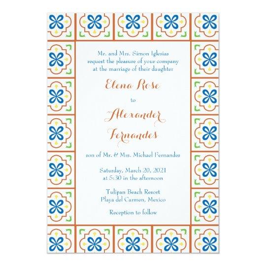 Wedding Invitations Spanish Wording: Talavera Spanish Tile Wedding Invitation