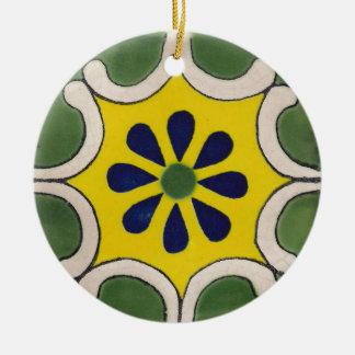 Talavera tile in green & yellow ceramic ornament