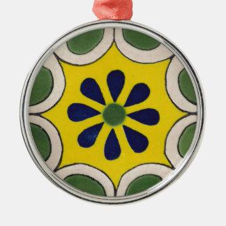 Talavera tile in green & yellow metal ornament