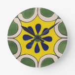Talavera tile in green & yellow round clock