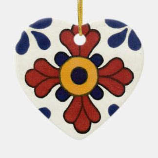 Talavera tile in red & blue ceramic ornament