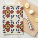 """Talavera tile Kitchen towel in blue &amp; orange<br><div class=""""desc"""">Talavera tile Kitchen towel in blue &amp; orange</div>"""