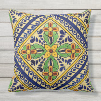 Talavera Tile Outdoor Pillow