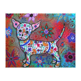 Talavera White Chihuahua Perrito Painting Gallery Wrap Canvas