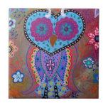 TALAVERA WISE OWL CERAMIC TILE