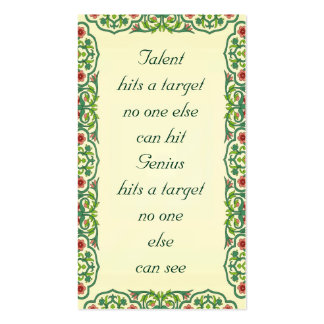 Talent hits  a target  no one else  can hit quote Double-Sided standard business cards (Pack of 100)
