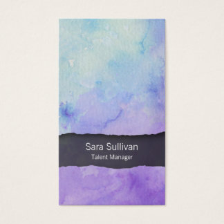Talent Manager Entertainment Purple Watercolor Business Card