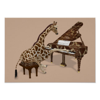 Talented Giraffe Plays Grand Piano Poster