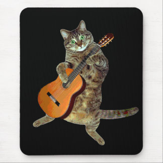 Talented tabby guitar player mouse pad