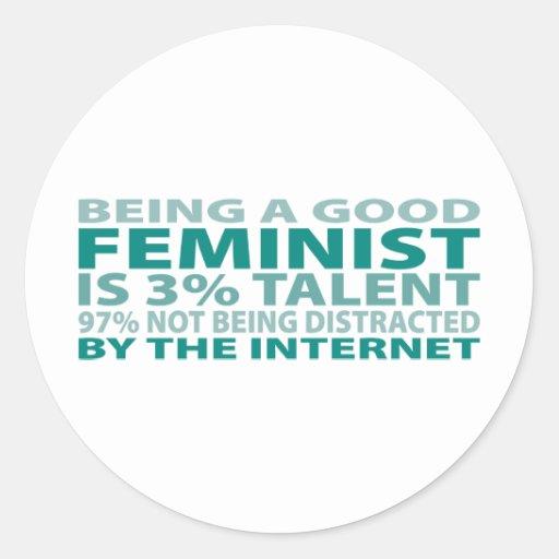 Talento de la feminista el 3% pegatina redonda