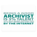 Talento del archivista el 3% tarjeta postal