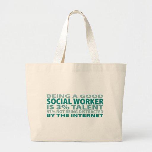 Talento del asistente social el 3% bolsas lienzo
