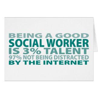Talento del asistente social el 3% tarjeta de felicitación