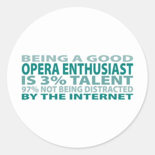 Talento del entusiasta el 3% de la ópera pegatina redonda