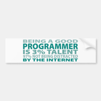 Talento del programador el 3% pegatina de parachoque