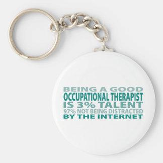 Talento del terapeuta profesional el 3% llavero redondo tipo pin