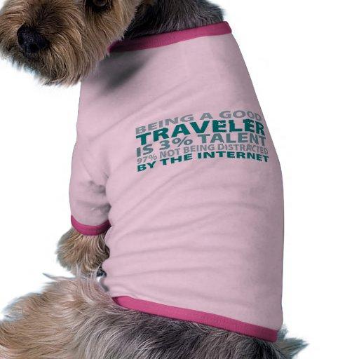 Talento del viajero el 3% camiseta con mangas para perro