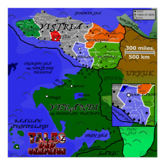 Tales From My D&D Campaign - Vistria Counties Map Poster