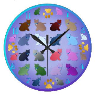 Tales gatitos coloridos reloj redondo grande